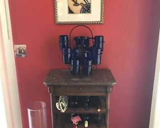 wine rack with marble top
