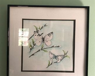 Vintage watercolor artist signed. Butterflies