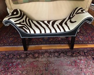 Purchased from Horchow catalog. Leather bench with fur.