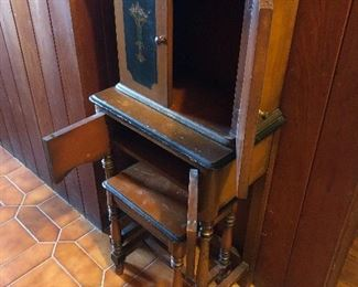 Vintage Child's step back hutch with stool