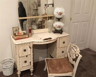 Vintage shabby dressing vanity, boudoir chair, Go e With The Wind lamp