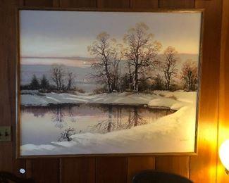 Large winter landscape painting