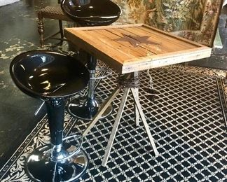 "Pair of Modern ""Black Licorice"" Alpha Contemporary BOMBO Style Adjustable Stools and a Custom Made Square Table with Tin Star on Top"