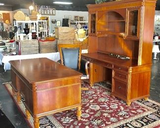 4-Piece Desk, 2-Piece Lighted Credenza, and Leather Rolling Chair, SOLID WOOD with inlaid patterns on top of desk and credenza, with keys to lock drawers
