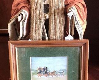 Handmade Corn Husk Male Figurine & Framed Carriage Picture