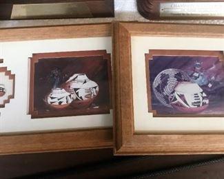"Original native american pottery art from 2 New Mexico artists: On left, Laverne Elliot, on right ""Desert Fantasy"" by Twila Felker"