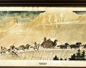 """Signed Norman Rockwell Print """"Stagecoach"""""""