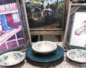 Anthony Hinojosa painting, two original artist watercolors, wheel thrown pottery pieces by Ellen Evans Terrafirma Pottery