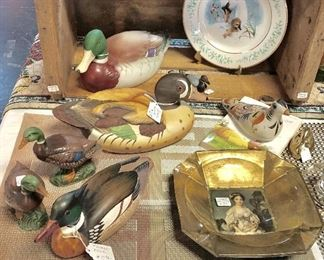 Wooden Hand Carved Duck and ANDREA by Sadek Porcelain Duck