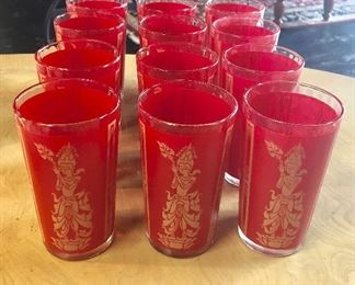 Mid Century Modern, 12-Piece Set, Drinking Glasses with Ribbed Interior