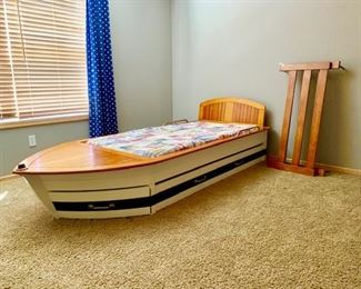 Twin trundle pottery barn boat bed with storage in front