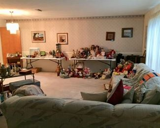 Extensive doll collection and international collectibles.