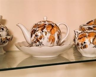"Lomonosov porcelain tea set from Russia.  ""My Garden"" pattern."