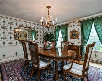 Dining Room Table, 8 Chairs, China Cabinet, Bronze & Crystal Chandelier, Brunschwig Silk Draperies with Robert Allen Trim, Oriental Rug, Gilded Mirror