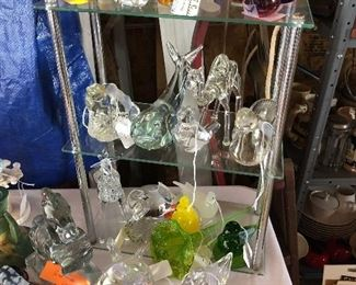 large variety of glass animals