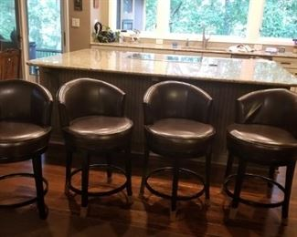 Four leather bar stools