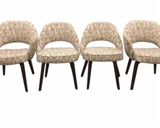 set of 4 vintage saarinen executive chairs - 2 arm + 2 side  - with rare wooden legs; upholstered in alexander girard for maharam fabric.