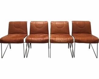 set of 4 guido faleschini for the pace collection burnt orange leather + chrome chairs.  circa 1970, italy.