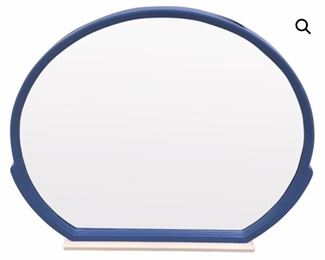 very large newly lacquered mirror in periwinkle + white. 1970s italy.
