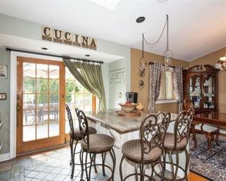 Kitchen essentials & 4 bar height stools