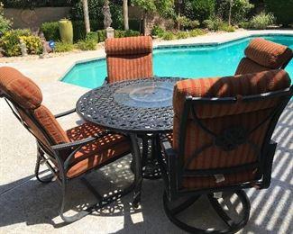 Heavy iron patio set with cushions