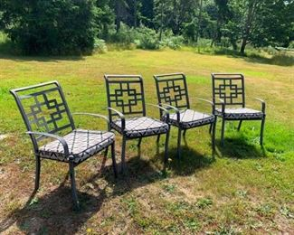 Four Quality Metal Patio Chairs with Pads