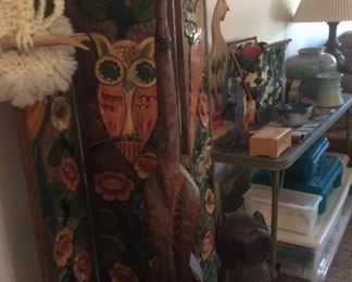 Retro tall wood cat, wood owl
