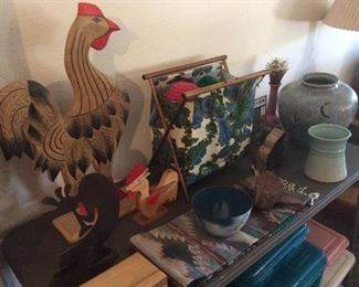 Decor items, chicken, kokopelli, Native American runner, pottery, retro sewing or yarn basket