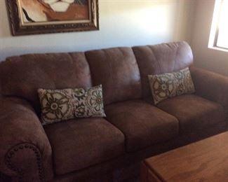 Beigy Brown overstuffed sofa