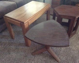Oak coffee table, small guitar pick style table, small hexagon side table