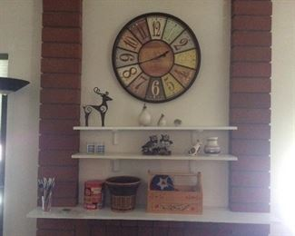 Decor items, quails, clock