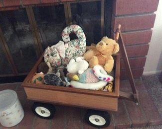 Wood wagon, stuffed animals and dog toys
