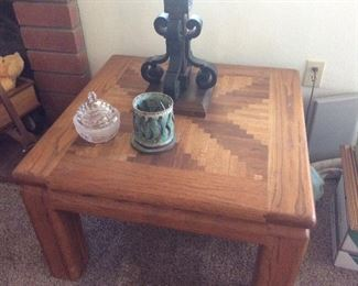 Oak table with inlays, accessories
