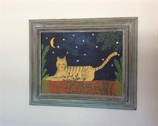 Cat painting, Laurel Burch style