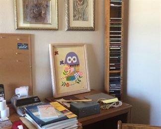 Wall art, CDs, office items