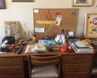 Oak desk and chair, office items, desk lamp