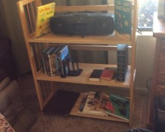 Shelf with boom box, books, Dr. Suess books