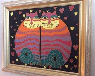 Laurel Burch style cat painting