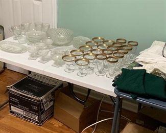 Depression glass, gold rimmed glassware