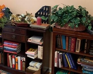 Books, bookcases, artificial flowers, games, shells