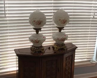Credenza and lamps