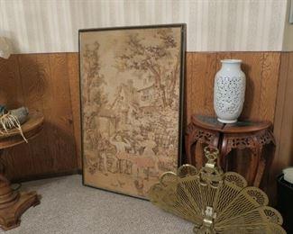 Vintage framed tapestry