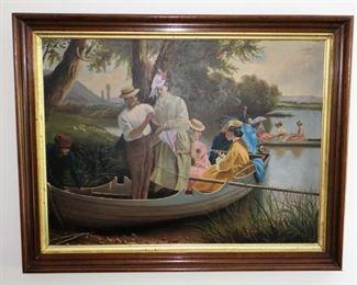 Framed painting on tin