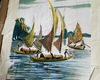 Vietnam silk print