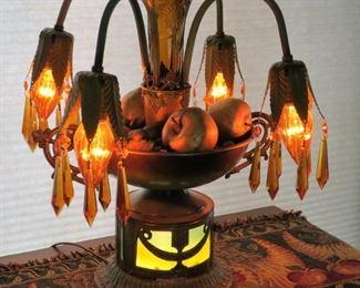 Art deco epergne lamp, light base & amber prisms.