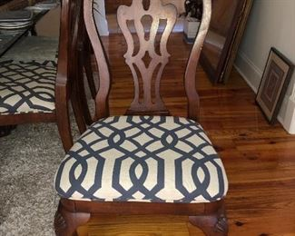 Upholstered sheild back dining chairs Set of 6 back chairs and 2 arm chairs