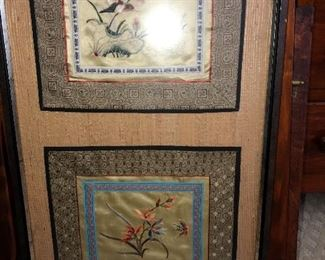 Framed Oriental silks