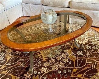 Oval Wood and glass top table with matching 1/2 round hall table
