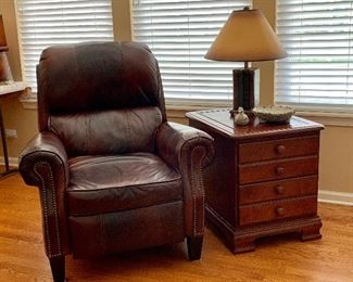 Leather recliner chair, Side table and lamp