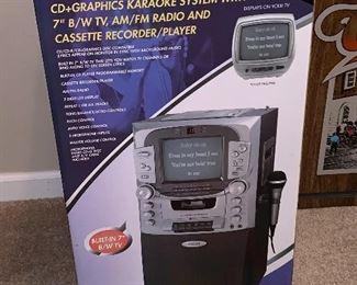"Karaoke System w/7"" B/W TV, AM/FM Radio and Cassette Recorder/Player"